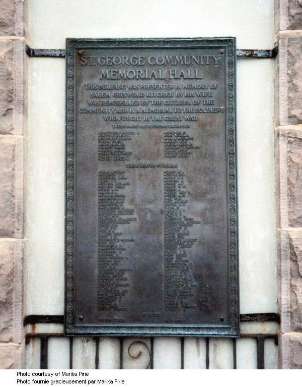 St George Ontario Memorial Tablet