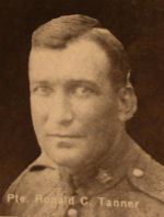 Photo of Ronald Tanner– In memory of the men and women from the Waterloo area who went to war and did not come home. From the booklet, Peace Souvenir – Activities of Waterloo County in the Great War 1914 – 1918. From the Toronto Public Library collection.  Submitted for the project, Operation: Picture Me.