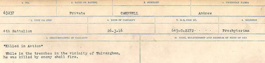 Circumstances of Death Registers– Source: Library and Archives Canada.  CIRCUMSTANCES OF DEATH REGISTERS, FIRST WORLD WAR Surnames:  Cabana to Campling. Microform Sequence 17; Volume Number 31829_B016726. Reference RG150, 1992-93/314, 161.  Page 555 of 1024.