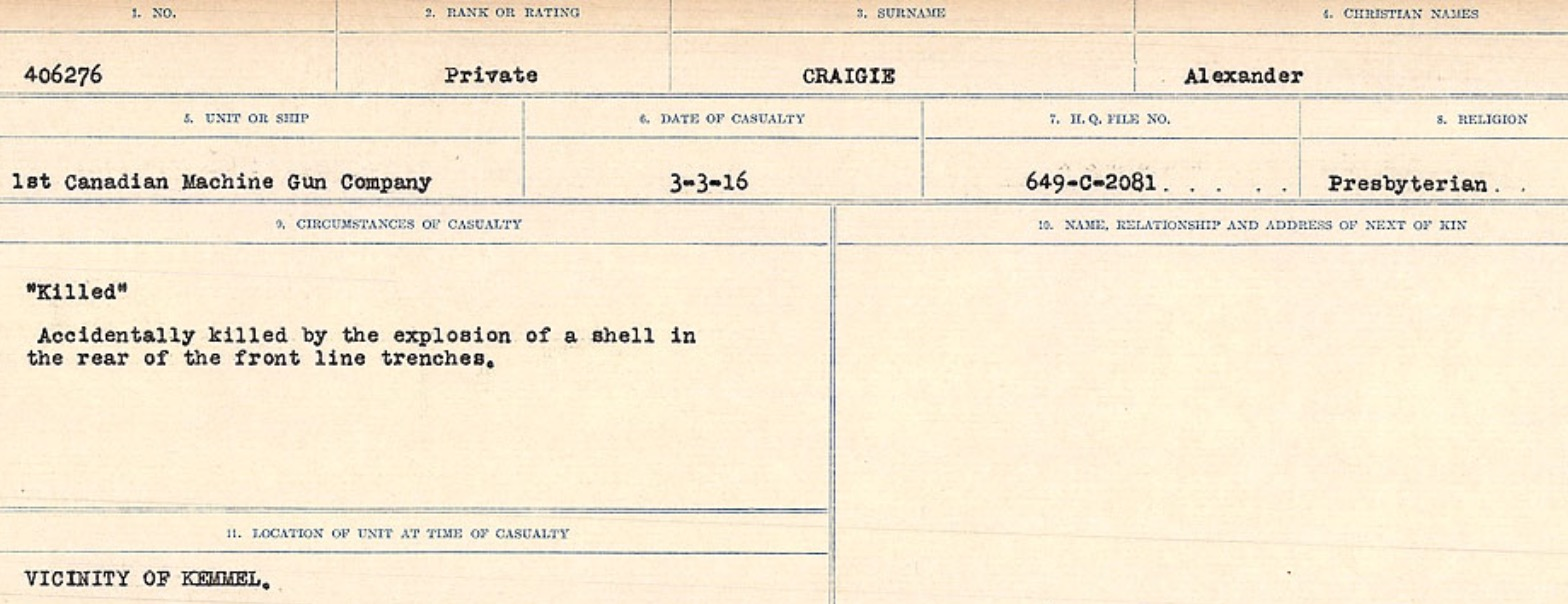 Circumstances of death registers– Source: Library and Archives Canada. CIRCUMSTANCES OF DEATH REGISTERS, FIRST WORLD WAR Surnames: CRABB TO CROSSLAND Microform Sequence 24; Volume Number 31829_B016733. Reference RG150, 1992-93/314, 168. Page 147 of 788.