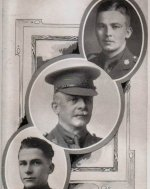 Photo of Hubert Osborne– Capt. H. P. Osborne (top right) was killed in action.  His father, Lt.-Col. W.J. Osborne (centre) and brother, Signaller J. G. Osborne (bottom left), are depicted in this photo montage.