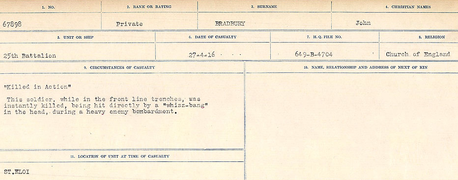 Circumstances of Death Registers– Source: Library and Archives Canada.  CIRCUMSTANCES OF DEATH REGISTERS FIRST WORLD WAR Surnames: Brabant to Britton. Mircoform Sequence 13; Volume Number 131829_B016722; Reference RG150, 1992-93/314, 156 Page 35 of 906.