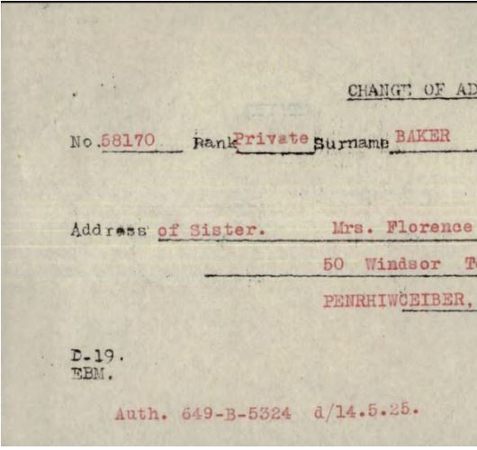Document– It was not until the change of address in his Service Record was found that it was known that Mrs. Florence Williams, named on the E-103 as next-of-kin, was his sister.
