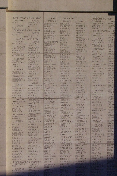 Panels– Corporal Ernest Howard Parsons is also commemorated on the Menin Gate ... Panel 10 of the Menin Gate - August 2012 … photo courtesy of Marg Liessens