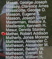Memorial– Pilot Officer Robert Addison Mather is also commemorated on the Bomber Command Memorial Wall in Nanton, AB … photo courtesy of Marg Liessens