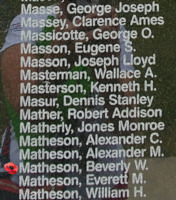 Memorial– Sergeant Beverly William Matheson is also commemorated on the Bomber Command Memorial Wall in Nanton, AB … photo courtesy of Marg Liessens