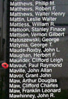 Memorial– Flight Lieutenant Paul Raymond Murray Mavaut is also commemorated on the Bomber Command Memorial Wall in Nanton, AB … photo courtesy of Marg Liessens