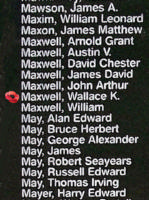 Memorial– Pilot Officer Wallace Kingdon Maxwell is also commemorated on the Bomber Command Memorial Wall in Nanton, AB … photo courtesy of Marg Liessens