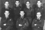 Group Photo– Photo and story courtesy of Air War Over Denmark www.flensted.eu.com  Photo of crew members: Rear L to R: F/S (AG) F. N. McDonough RAAF, F/S (BA) H. R. Lawson RCAF, Sgt. (W/Op) E. Wilkinson, Sgt.(FE) Albert Dix Front Row L to R: F/O (N) Merrall RCAF, P/O (P) Robert Beadle, Sgt. (AG) James Potter.   Lancaster I LL894 of 625 (RAF) Sqn took off 22:02 from Kelstern on Gardening (Mining) operation to Kiel Bay. The aircraft is believed to have been shot down by a night fighter at 01:53 hours and crashed into the North Sea 60 kilometres WNW of Westerland/Sylt killing the crew.  The body of Sgt Dix was found washed ashore on the island of Fanø on 14/6. He was laid to rest in Fovrfelt cemetery in Esbjerg on 19/6-44. The bodies of the remainder of the crew were unrecovered and their names are on the Runnymede War Memorial.