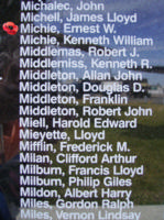 Memorial– Pilot Officer Ernest Wilberforce Michie is also commemorated on the Bomber Command Memorial Wall in Nanton, AB … photo courtesy of Marg Liessens
