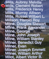 Memorial– Flight Lieutenant Clement Robert Mills is also commemorated on the Bomber Command Memorial Wall in Nanton, AB … photo courtesy of Marg Liessens