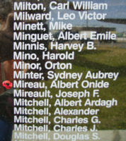 Memorial– Sergeant Albert Ovide Mireau is also commemorated on the Bomber Command Memorial Wall in Nanton, AB … photo courtesy of Marg Liessens