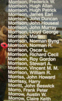 Memorial– Flight Sergeant Norman Robert Morrison is also commemorated on the Bomber Command Memorial Wall in Nanton, AB … photo courtesy of Marg Liessens