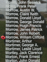 Memorial– Flying Officer William Clifford Morrow is also commemorated on the Bomber Command Memorial Wall in Nanton, AB … photo courtesy of Marg Liessens