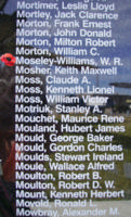 Memorial– Squadron Leader Walter Read Moseley-Williams is also commemorated on the Bomber Command Memorial Wall in Nanton, AB … photo courtesy of Marg Liessens