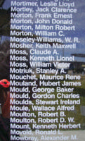 Memorial– Sergeant Hubert James Mouland is also commemorated on the Bomber Command Memorial Wall in Nanton, AB … photo courtesy of Marg Liessens