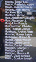 Memorial– Flying Officer Alexander Jamieson Muir is also commemorated on the Bomber Command Memorial Wall in Nanton, AB … photo courtesy of Marg Liessens