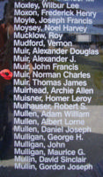 Memorial– Flying Officer Norman Charles Muir is also commemorated on the Bomber Command Memorial Wall in Nanton, AB … photo courtesy of Marg Liessens