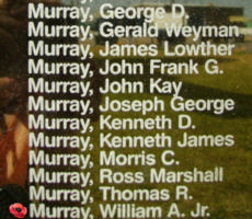 Memorial– Pilot Officer William Arnold Murray is also commemorated on the Bomber Command Memorial Wall in Nanton, AB … photo courtesy of Marg Liessens