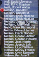 Memorial– Flying Officer Donald Fullerton Neilson is also commemorated on the Bomber Command Memorial Wall in Nanton, AB … photo courtesy of Marg Liessens