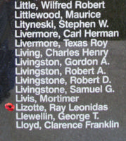 Memorial– Flight Sergeant Rene Leonidas Joseph Lizotte as commemorated on the Bomber Command Memorial Wall in Nanton, AB … photo courtesy of Marg Liessens