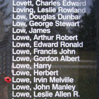 Memorial– Warrant Officer Class II Irvin Melville Lowe is also commemorated on the Bomber Command Memorial Wall in Nanton, AB … photo courtesy of Marg Liessens