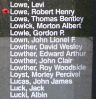 Memorial– Flight Lieutenant Robert Henry Lowe is also commemorated on the Bomber Command Memorial Wall in Nanton, AB … photo courtesy of Marg Liessens