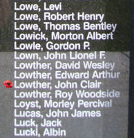 Memorial– Flying Officer John Clair Lowther is also commemorated on the Bomber Command Memorial Wall in Nanton, AB … photo courtesy of Marg Liessens