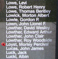 Memorial– Flight Sergeant Morley Percival Loyst is also commemorated on the Bomber Command Memorial Wall in Nanton, AB … photo courtesy of Marg Liessens