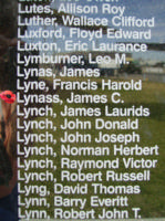 Memorial– Flight Sergeant James Cunningham Lynass is also commemorated on the Bomber Command Memorial Wall in Nanton, AB … photo courtesy of Marg Liessens