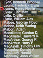Memorial– Flying Officer Henry Neelin Lyons is also commemorated on the Bomber Command Memorial Wall in Nanton, AB … photo courtesy of Marg Liessens