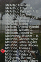 Memorial– Pilot Officer Cecil Howard McBrien is also commemorated on the Bomber Command Memorial Wall in Nanton, AB … photo courtesy of Marg Liessens