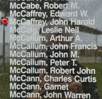 Memorial– Pilot Officer John Harold Alexander McCaffrey is also commemorated on the Bomber Command Memorial Wall in Nanton, AB … photo courtesy of Marg Liessens