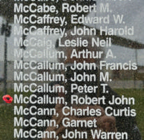Memorial– Pilot Officer Robert John McCallum is also commemorated on the Bomber Command Memorial Wall in Nanton, AB … photo courtesy of Marg Liessens