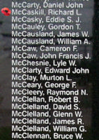 Memorial– Sergeant Richard Llewellyn McCaskill is also commemorated on the Bomber Command Memorial Wall in Nanton, AB … photo courtesy of Marg Liessens