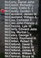 Memorial– Flying Officer Gordon Theodore McCauley is also commemorated on the Bomber Command Memorial Wall in Nanton, AB … photo courtesy of Marg Liessens