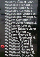 Memorial– Flight Sergeant Glenn Wilfred McClelland is also commemorated on the Bomber Command Memorial Wall in Nanton, AB … photo courtesy of Marg Liessens