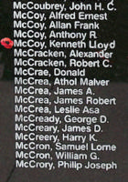 Memorial– Warrant Officer Class II Kenneth Lloyd Douglas McCoy is also commemorated on the Bomber Command Memorial Wall in Nanton, AB … photo courtesy of Marg Liessens