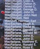Memorial– Sergeant John Hillhouse MacDougall is also commemorated on the Bomber Command Memorial Wall in Nanton, AB … photo courtesy of Marg Liessens