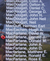 Mémorial – Pilot Officer Donald John MacFarlane is also commemorated on the Bomber Command Memorial Wall in Nanton, AB … photo courtesy of Marg Liessens