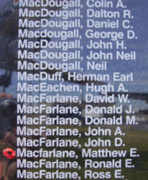 Memorial– Flying Officer Matthew Ernest Reid MacFarlane is also commemorated on the Bomber Command Memorial Wall in Nanton, AB … photo courtesy of Marg Liessens