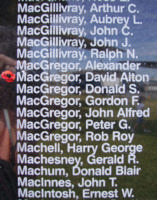 Memorial– Flying Officer David Alton MacGregor is also commemorated on the Bomber Command Memorial Wall in Nanton, AB … photo courtesy of Marg Liessens