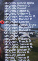 Memorial– Flight Sergeant George McGregor is also commemorated on the Bomber Command Memorial Wall in Nanton, AB … photo courtesy of Marg Liessens