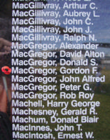 Memorial– Pilot Officer Gordon Fraser MacGregor is also commemorated on the Bomber Command Memorial Wall in Nanton, AB … photo courtesy of Marg Liessens