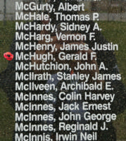 Memorial– Flight Sergeant Gerald Finnbarr McHugh is also commemorated on the Bomber Command Memorial Wall in Nanton, AB … photo courtesy of Marg Liessens