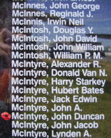 Memorial– Flight Sergeant John Duncan McIntyre is also commemorated on the Bomber Command Memorial Wall in Nanton, AB … photo courtesy of Marg Liessens