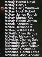Memorial– Sergeant Harry Whittaker McKay is also commemorated on the Bomber Command Memorial Wall in Nanton, AB … photo courtesy of Marg Liessens