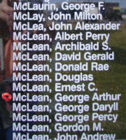 Memorial– Flight Sergeant George Arthur McLean is also commemorated on the Bomber Command Memorial Wall in Nanton, AB … photo courtesy of Marg Liessens
