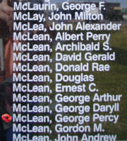 Memorial– Warrant Officer Class I George Percy McLean is also commemorated on the Bomber Command Memorial Wall in Nanton, AB … photo courtesy of Marg Liessens