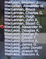 Memorial– Pilot Officer Alexander Harvey MacLeod is also commemorated on the Bomber Command Memorial Wall in Nanton, AB … photo courtesy of Marg Liessens